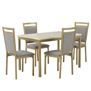 Stacy Gray and Gold 39-Inch Dining Set with Marble Top